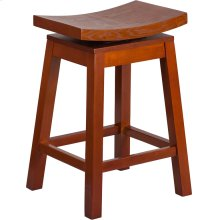26'' High Saddle Seat Light Cherry Wood Counter Height Stool with Auto Swivel Seat Return