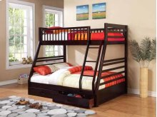 Twin / Full Wood Bunkbed with storage Drawers (Cappuccino)