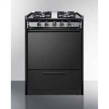 """24"""" Wide Slide-in Gas Range In Black With Sealed Burners and Electronic Ignition; Replaces Tnm616r"""