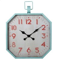 Aqua Wall Clock with Red Numbers. Product Image