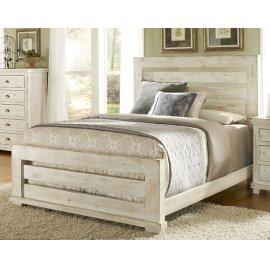 King Distressed White Slat Bed