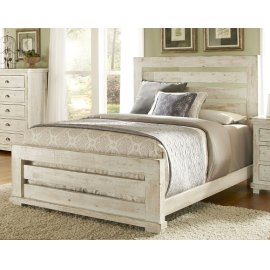 King Distressed White Slat Bed
