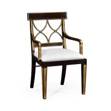 Regency Black Painted Curved Back Chair (Arm) - COM