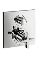 Chrome Thermostatic mixer for concealed installation with shut-off valve and cross handle
