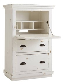 Armoire Desk - Distressed White Finish