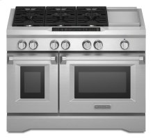 BLACK KNOBS 48'' 6-Burner with Griddle, Dual Fuel Freestanding Range, Commercial-Style- Out of Carton