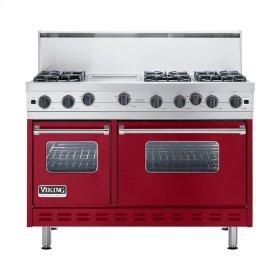 """Apple Red 48"""" Open Burner Commercial Depth Range - VGRC (48"""" wide, six burners 12"""" wide griddle/simmer plate)"""
