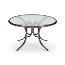 "Glass Top Table 56"" Round Dining Table w/ hole Ogee Rim"