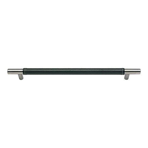 Zanzibar Black Leather Pull 11 5/16 Inch (c-c) - Stainless Steel