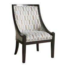 Brown & Blue Patterned High Back Accent Chair