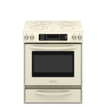 Slide-In Electric Range True Convection Oven Beveled Glass Cooktop Contoured Front Control Knobs Four Elements Three Double-Ring Elements Architect® Series II(Pure Biscuit)