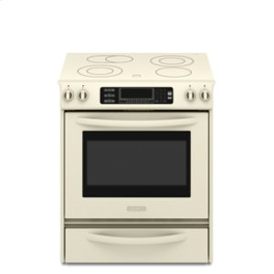 KitchenAidSlide-In Electric Range True Convection Oven Beveled Glass Cooktop Contoured Front Control Knobs Four Elements Three Double-Ring Elements Architect® Series II(Pure Biscuit)