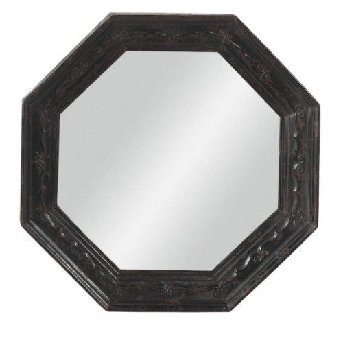 Distressed Black Octagon Mirror.