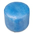 Round Footrest, Embossed Croc Blue Lthr Product Image