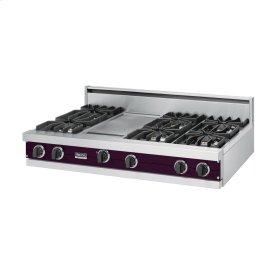 """Plum 48"""" Sealed Burner Rangetop - VGRT (48"""" wide, six burners 12"""" wide griddle/simmer plate)"""