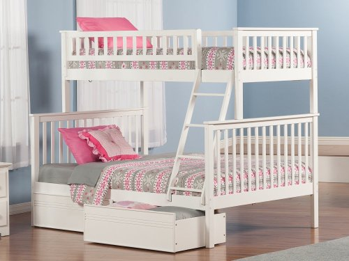 Woodland Bunk Bed Twin over Full with Flat Panel Bed Drawers in White