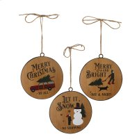 Faux Wood Disc Holiday Text Ornament. (6 pc. ppk.) Product Image