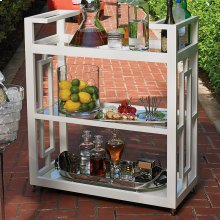 Grid Block Bar Cart-White