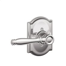 Birmingham Lever with Camelot trim Non-turning Lock - Bright Chrome