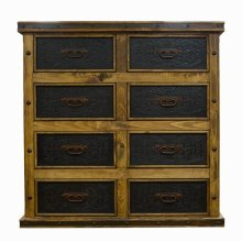 8 Drawer Dresser W/Tooled Leather