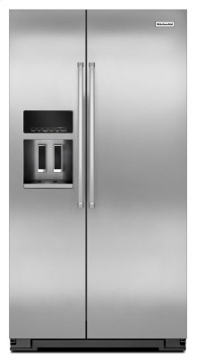 20 Cu. Ft. Counter Depth Side-by-Side Refrigerator with Exterior Ice and Water - Monochromatic Stainless Steel