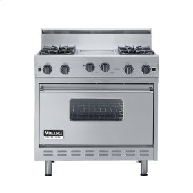 "Stainless Steel 36"" Open Burner Range - VGIC (36"" wide, four burners 12"" wide griddle/simmer plate)"