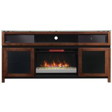 This impressive wood TV stand offers versatility and functionality with an ...