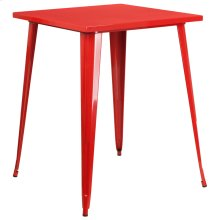 31.5'' Square Red Metal Indoor-Outdoor Bar Height Table