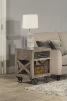 Bridgewater End Table With Casters - Brushed Tan Wood