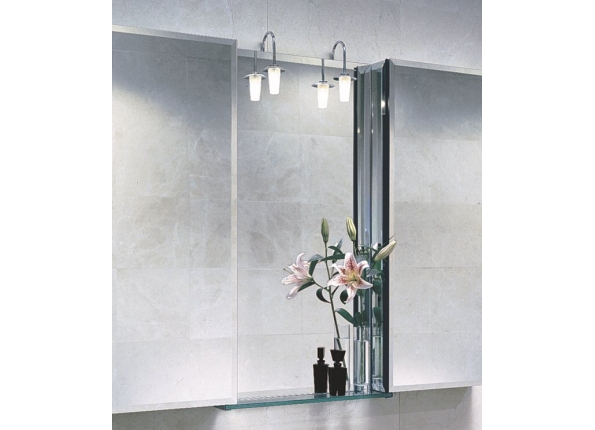 Wall Mirror Light, Chrome and Glass Shade