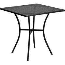 28'' Square Black Indoor-Outdoor Steel Patio Table