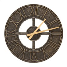 """Hera 16"""" Indoor Outdoor Wall Clock - Black/Gold"""