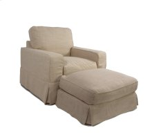 Sunset Trading Americana Slipcovered Chair and Ottoman - Color: 466082