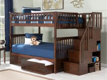 Columbia Staircase Bunk Bed Full over Full with Urban Bed Drawers in Walnut