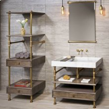Elemental Storage Set Cement Gray Wood / 36in / Polished Nickel
