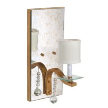 Only Antique Mirror Sconce W. Gold Leaf Detailing and Glass Bobesche. Ul Approved for One 40 Watt Candelabra Bulb. Off White Shade Included. Hardwire
