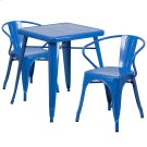 23.75'' Square Blue Metal Indoor-Outdoor Table Set with 2 Arm Chairs Product Image