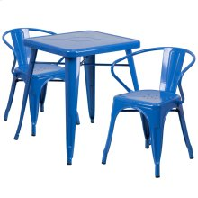 23.75'' Square Blue Metal Indoor-Outdoor Table Set with 2 Arm Chairs