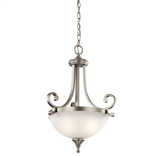 Monroe 2 Light Pendant with LED Bulbs Brushed Nickel