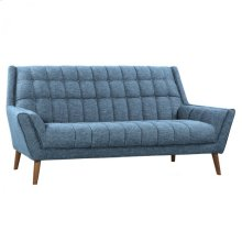 Armen Living Cobra Mid-Century Modern Sofa in Blue Linen and Walnut Legs