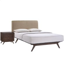 Tracy 2 Piece Queen Upholstered Fabric Wood Bedroom Set in Cappuccino Latte