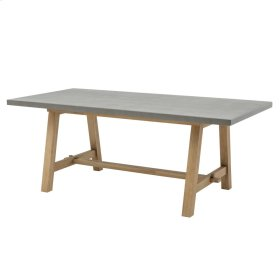 "Boston 79"" Rect. Dining Table ""A"" Base with Concrete Top, Brushed Smoke"