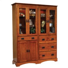 Old English Mission Murphy Wall Bed Bookcase