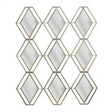 Gold Metal 9 Diamond Mirror, Wb