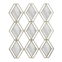 Gold Metal 9 Diamond Mirror, Wb