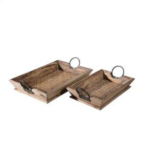 "S/2 Wood Trays 20.5X13X4.5"", Brown"