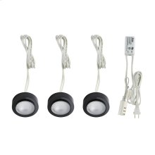 Zee-Puk 3-light Kit w / xenon lamps, transf w / cord and plug. Frosted lens / Black.