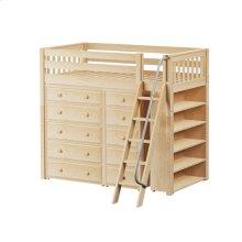 High Loft w/ Angle Ladder, 5 Drawer Dresser, Narrow 5 Drawer Dresser & Bookcase : Twin : Natural : Slat