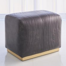 Forest Ottoman-Charcoal Leather