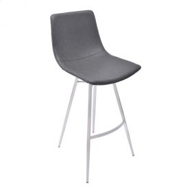 """Armen Living Athens 26"""" Counter Height Metal Barstool in Vintage Gray Pu and Brushed Stainless Steel"""